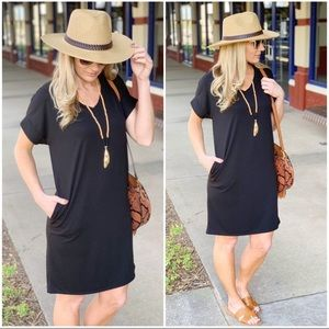 Black T-Shirt Dress with Pockets